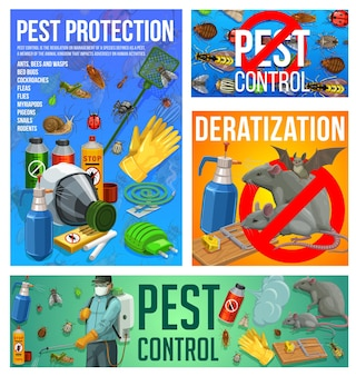 Pest control vector disinsection and deratization service. insect extermination control at home with press sprayer. exterminator spraying toxic insecticide against insects, vermin and rodents banners