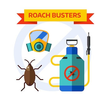 Pest control worker spraying pesticides home insects vector.