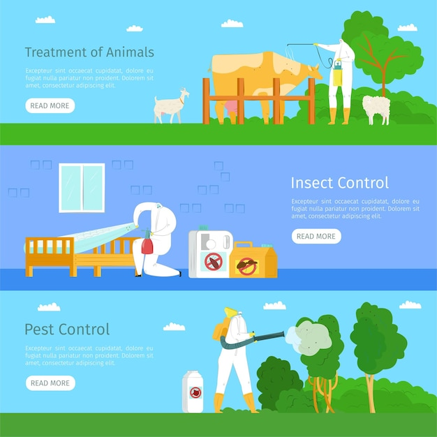 Pest insect control and animal treatment web banner set