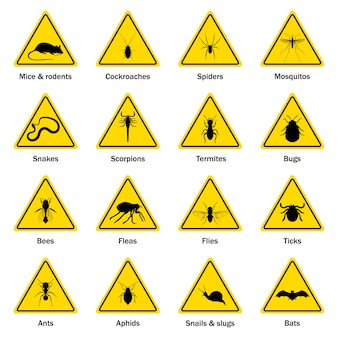 Pest and insect control symbol set.