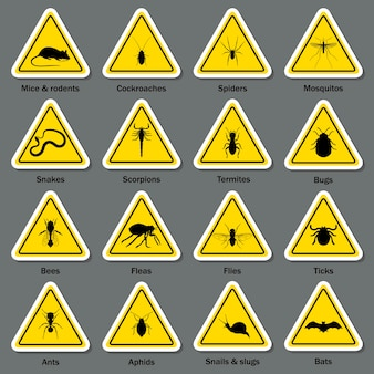 Pest and insect control symbol set