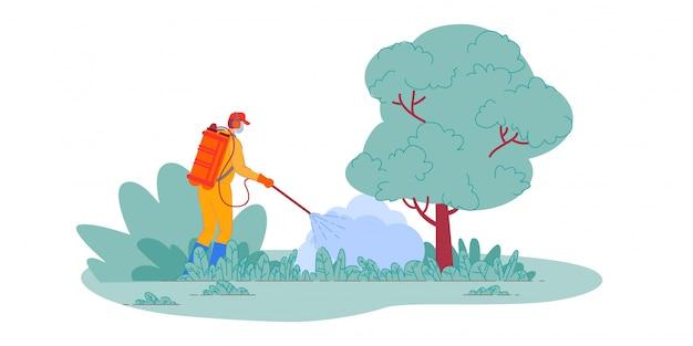 농약 살포. 정원에서 식물에 농약 화학 물질을 살포하는 농부. 스프레이 장비와 해충 방제 작업자 남자입니다. 독성 살충제 분무기, 농업