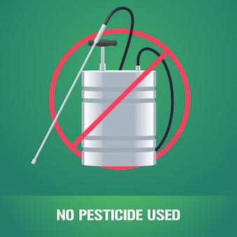 Pesticide sprinkler in prohibition sign illustration