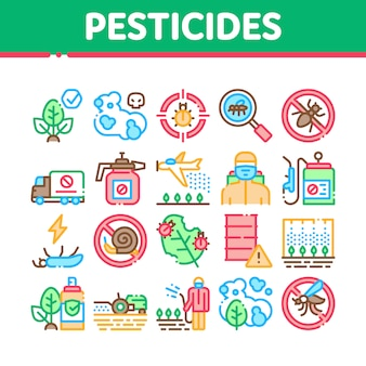 Pesticides chemical collection icons set
