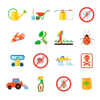 Pesticides and fertilizers elements set with special equipment symbols flat isolated vector illustration
