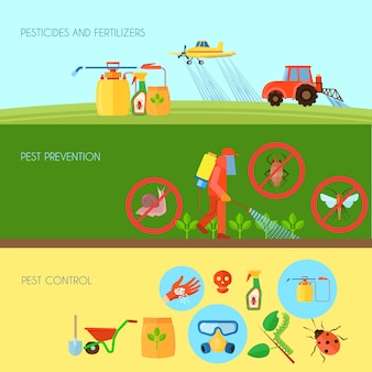 Pesticides and fertilizers horizontal background set with pest control symbols flat isolated vector illustration