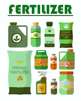 Pesticides, herbicides bottles illustrations set