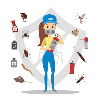 Pesticides and insects set. pest control service.