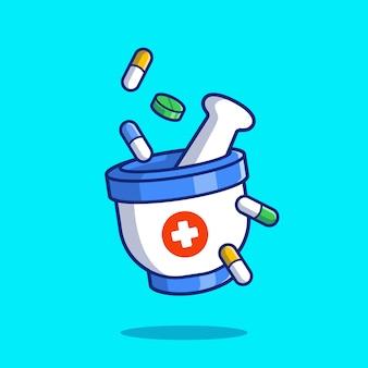 유 봉과 박격포 분쇄 알 약 및 정제 만화 아이콘 그림. 의료 의학 아이콘 개념입니다. 플랫 만화 스타일