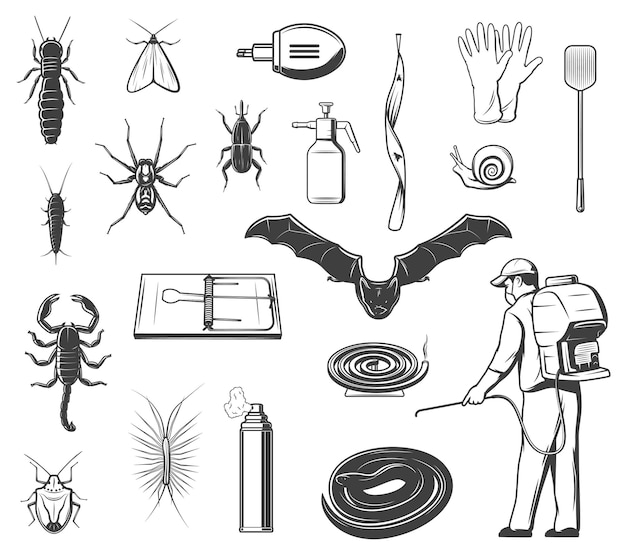 Pests control equipment, insects and animals icons