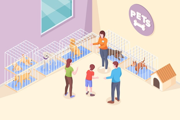 Pet adoption family chooses dog from shelter isometric illustration family mother and father