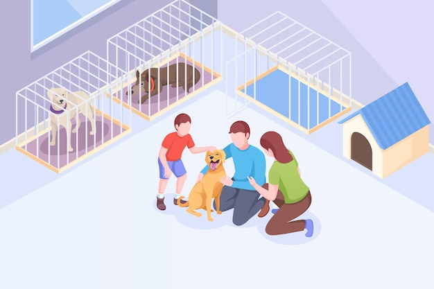 Pet adoption family plays with dog at animal shelter isometric illustration family mother and