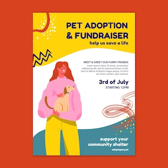 Pet adoption and fundraiser poster template