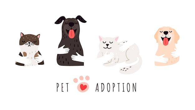 ペットの養子縁組。犬猫、避難所のバナーを保持している手。孤立したかわいい動物、ベクトルの背景を採用