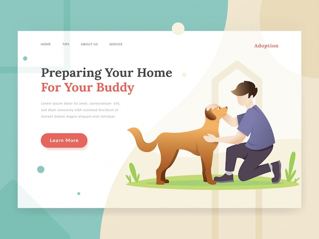 Pet adoption landing page concept
