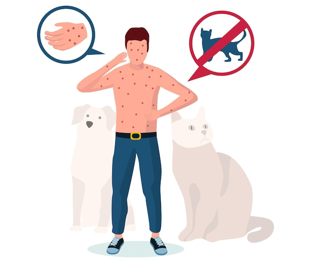 ペットの動物アレルギー。発疹、じんましん、湿疹、かゆみを伴う皮膚、ベクトルイラストに苦しんでいる男性。アレルギー性皮膚炎。