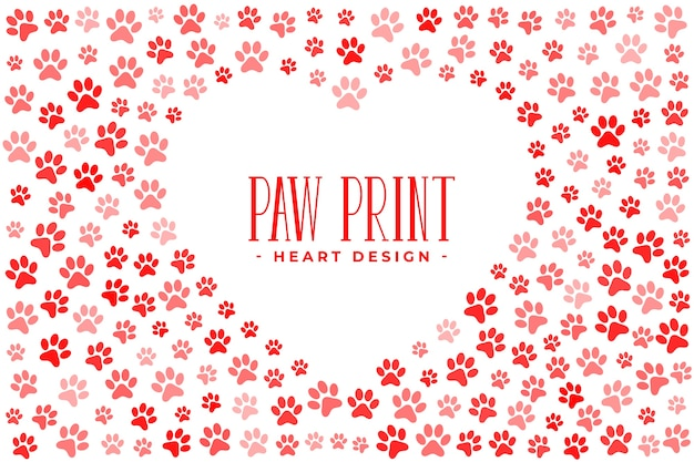 Любовь домашних животных с отпечатками лап и сердцем