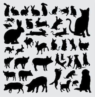 Pet animal silhouette, rabbit, cat, pig, and dog