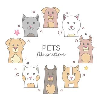 Pet Animals Portrait with Flat Design