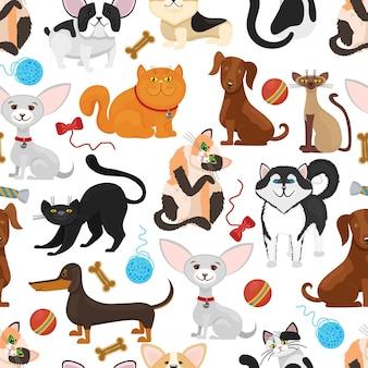 ペットの背景。犬と猫のシームレスなパターン。ペットの子猫と子犬、おもちゃのイラストと血統ペット