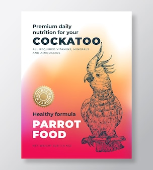 Pet bird food product label template abstract vector packaging design layout modern typography banne...