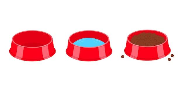 물과 음식으로 채워진 비어 있는 애완 동물 그릇 개 또는 고양이 플라스틱 접시