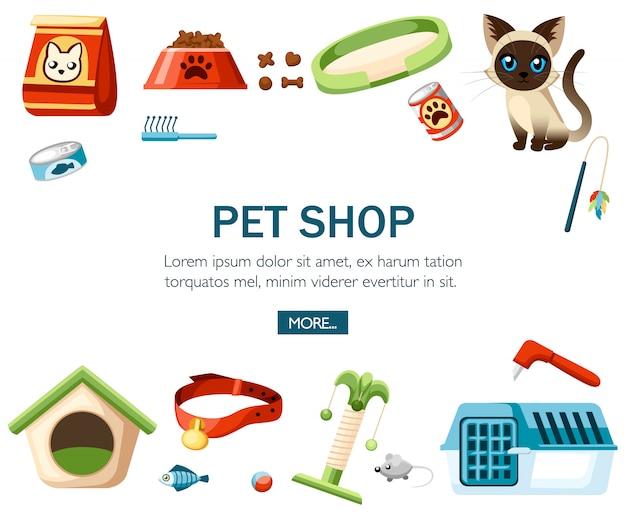 ペットケア用品。ペットショップの装飾的なアイコン。猫用アクセサリー。白い背景のイラスト。ウェブサイトや広告のコンセプト