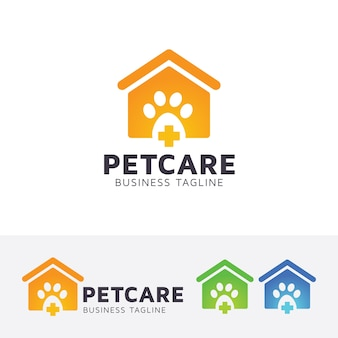 Pet care and animal home logo template