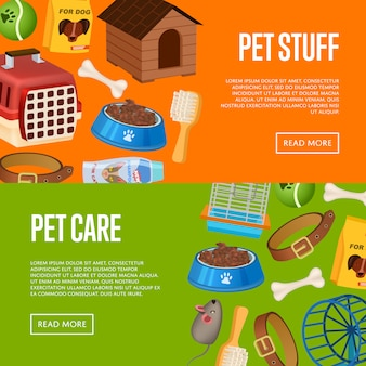 Pet care banner web set in cartoon style
