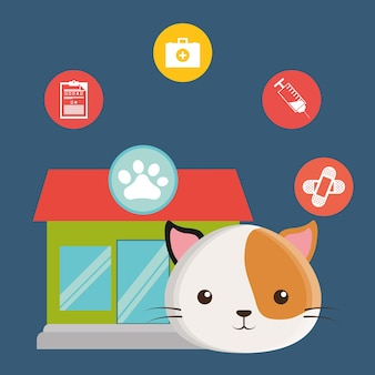 Pet care center service icons