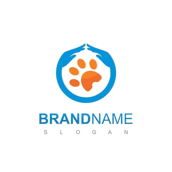Pet care logo design vector with paw and protecting hand symbol