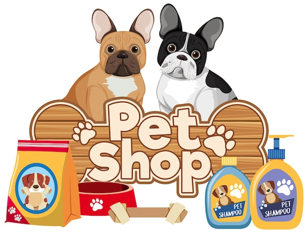 애완 동물 관리 로고 또는 흰색 바탕에 귀여운 강아지와 배너