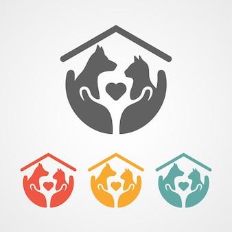 애완 동물 관리 로고 홈 아이콘