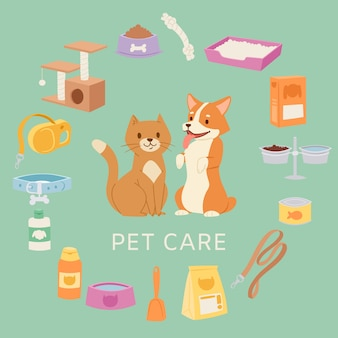 Pet care set for petshop contains toys, collar, food, cartoon cat and dog, bowls, shampoo  illustrations.