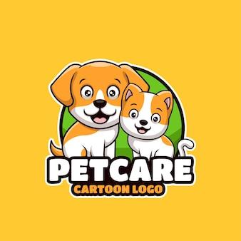 애완 동물 관리가 게 만화 크리에이 티브 로고 디자인
