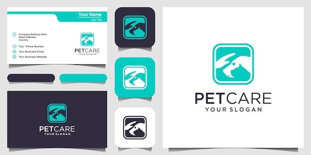Зоомагазин собаки и кошки с шаблоном вектора значка эмблемы руки. дизайн логотипа и визитная карточка
