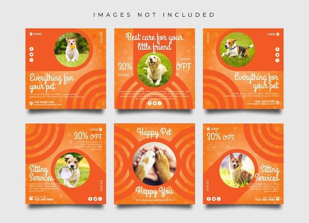 Шаблон коллекции постов и баннеров по уходу за домашними животными в социальных сетях