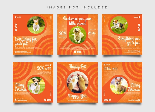 Pet care social media post and banner design collection template