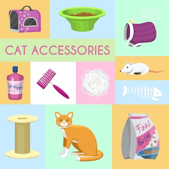 Pet care supplies banner vector illustration. ginger kitten and cat accessories food, toys and carrier, toilet and grooming equipment.