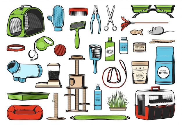 Pet care supplies for cats, vector icons