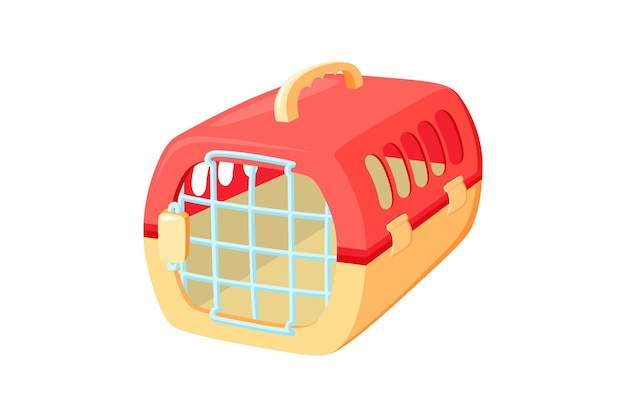 Pet carrier with metal door red and orange carrier to transport animals in voyages