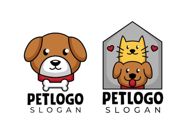 Pet cat and dog animal logo design