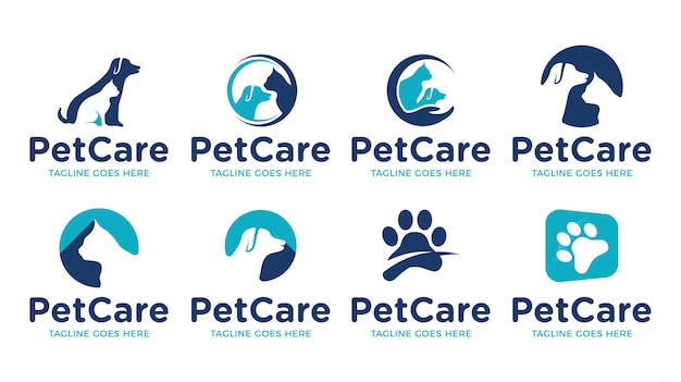 Pet cat dog shop animal logo template set