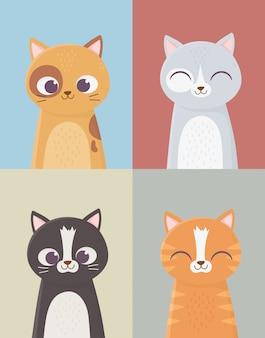 Домашние кошки домашние кошачьи персонажи набор мультфильм иллюстрация