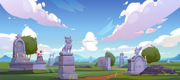 Pet cemetery, animal graveyard with tombstones