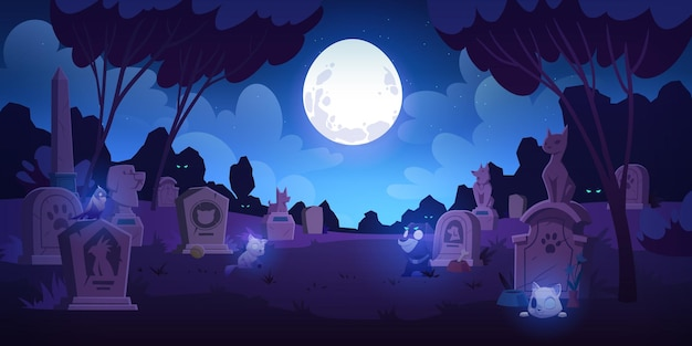 Pet cemetery at night animal graveyard with tombstones grave tombs with cats dogs and birds souls near monuments with their photos under full moon in dark starry sky cartoon illustration