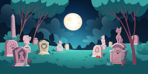 Pet cemetery with graves and tombstones