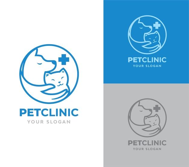 Pet clinic cat and dog logo design