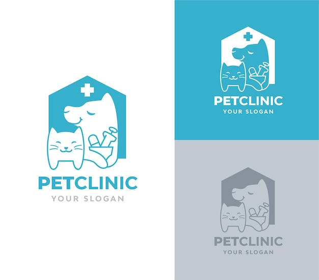 Pet clinic with dog and cat silhoutte logo