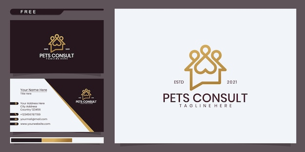 Pet consultation logo, chat house with animal footprints. logo design and business card